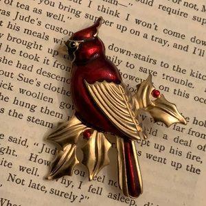 Vintage Red Enamel Cardinal Gold Tone Brooch